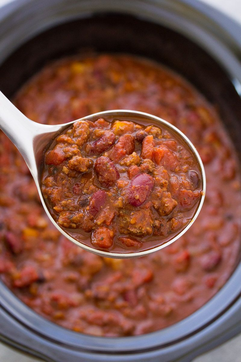 The Best Crockpot Chili Recipe So Thick And Hearty And Easy To Make Make This Slo Slow Cooker Chili Recipe Chili Recipe Crockpot Turkey Chili Recipe Crockpot