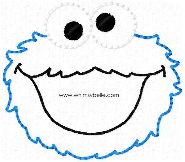 Cookie Monster Hairbow Feltie In the hoop Feltie Machine Embroidery ...