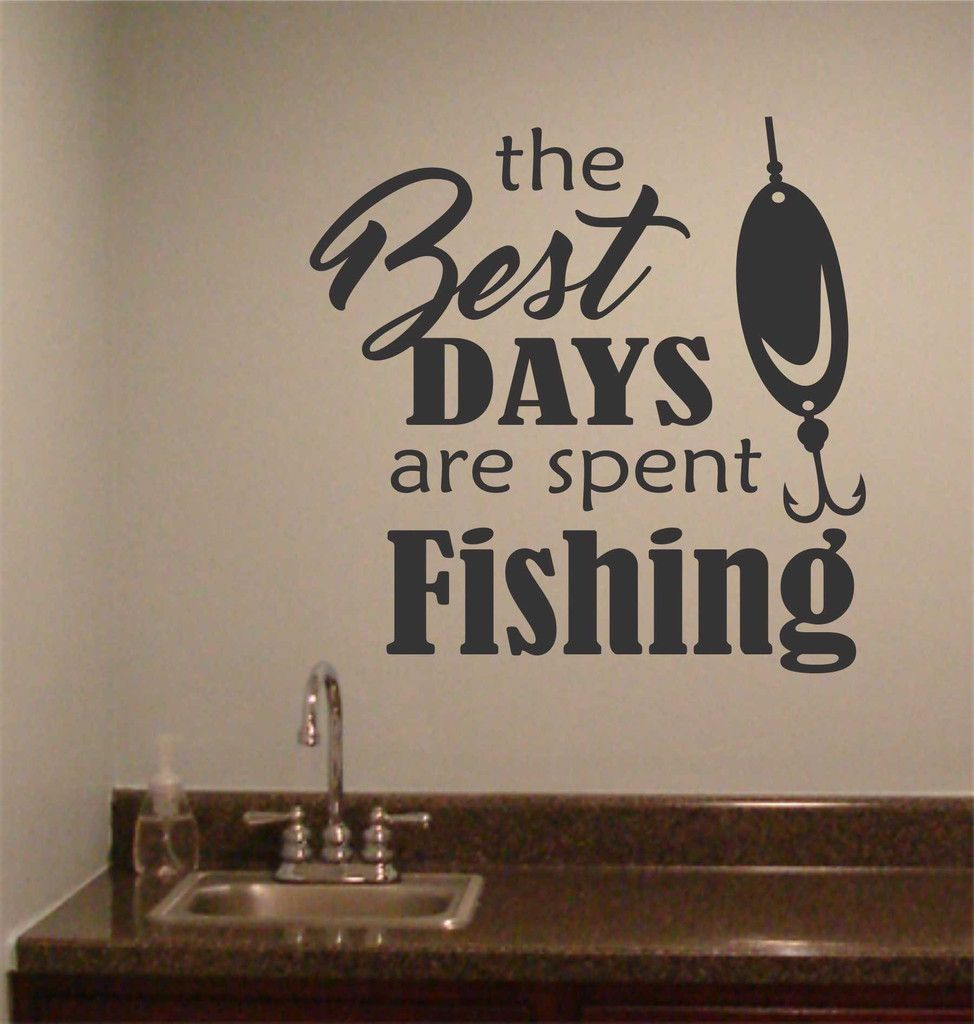 Best days spent fishing wall quotes sports decal for Good fishing times