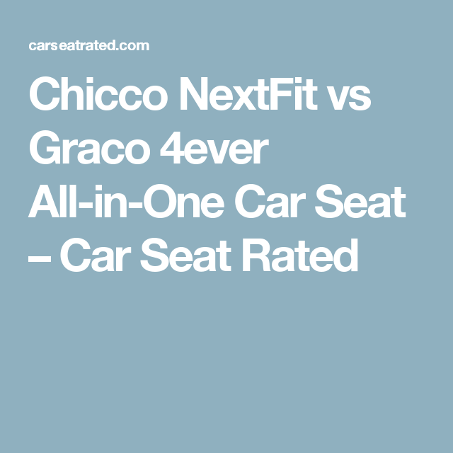 Chicco NextFit Vs Graco 4ever All In One Car Seat Rated