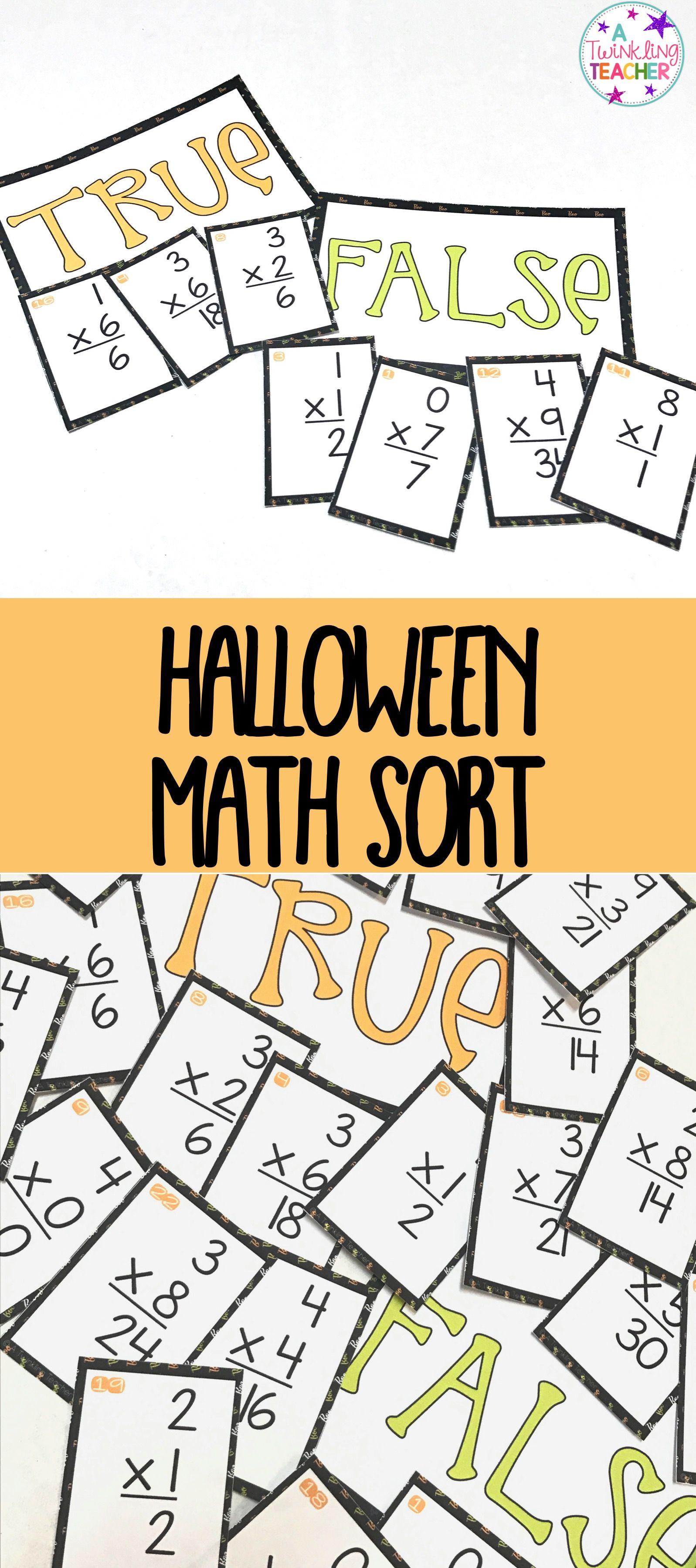 Halloween Multiplication Math Center Sort