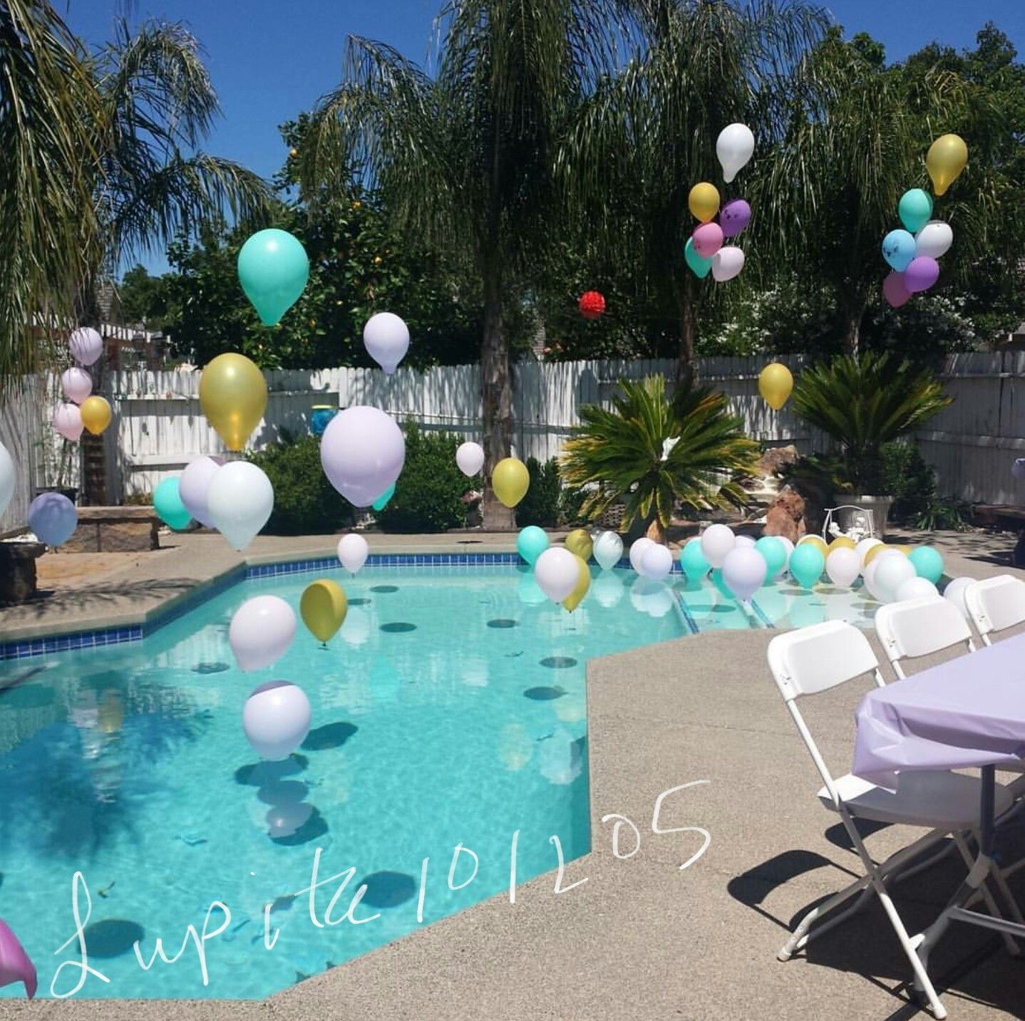 Pool Party Balloons Sweet 16 Pool Party Outfits Backyard Pool Parties Backyard Party Decorations