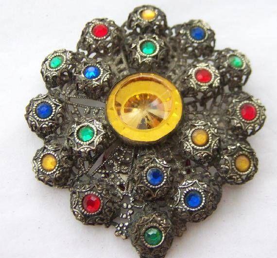 Antique Jeweled Coat Or Jacket Clip #Unbranded