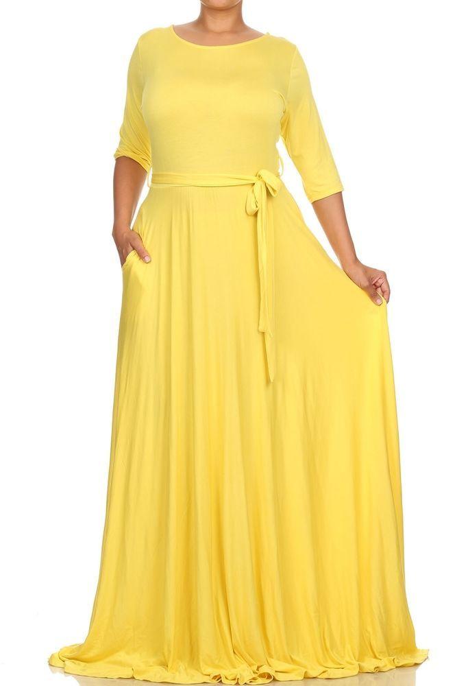 PLUS Size YELLOW Rayon Jersey FULL SWEEP X-Long Skirt MAXI DRESS ...