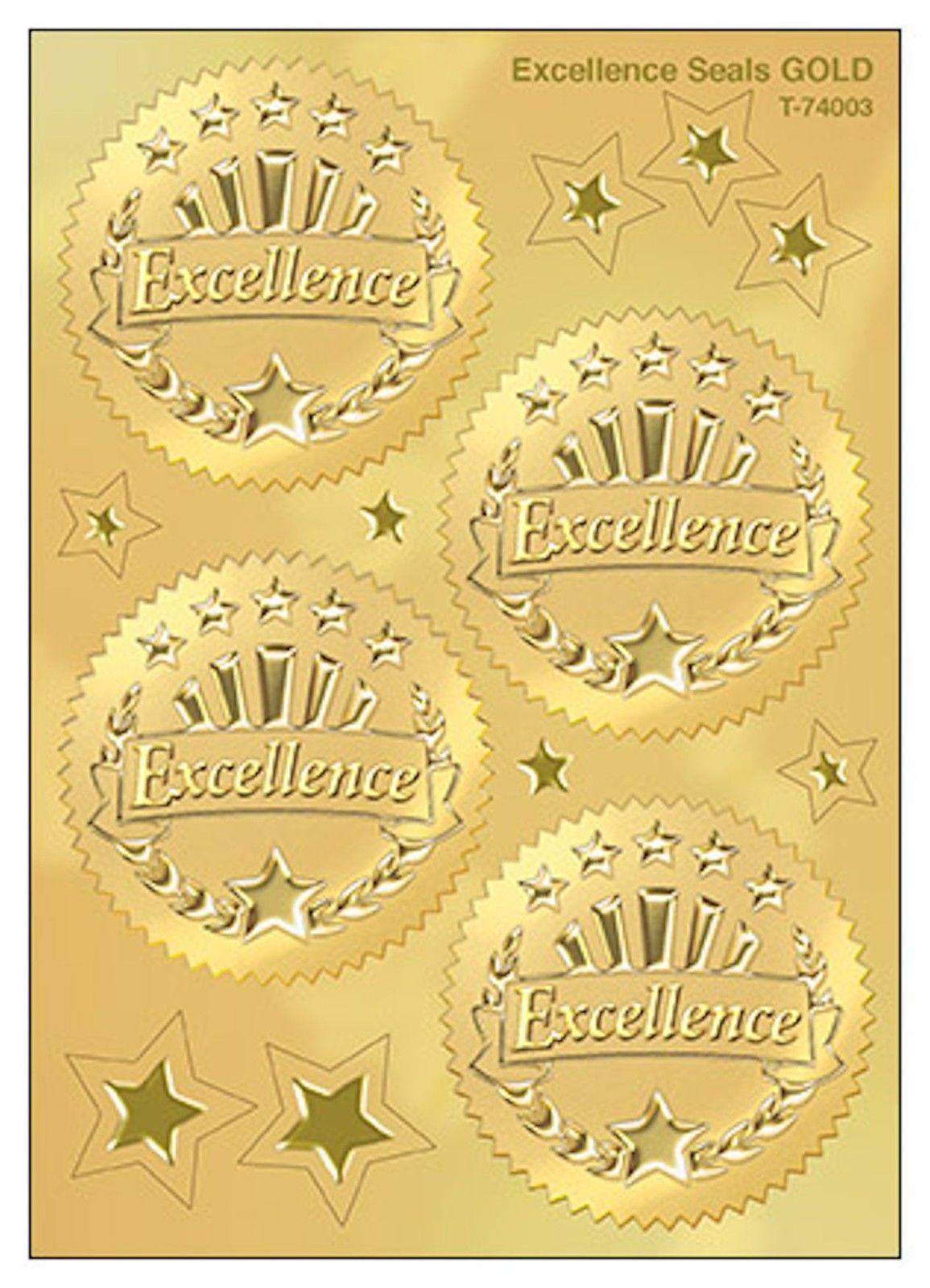 32 embossed gold foil certificate stickers excellence rewards