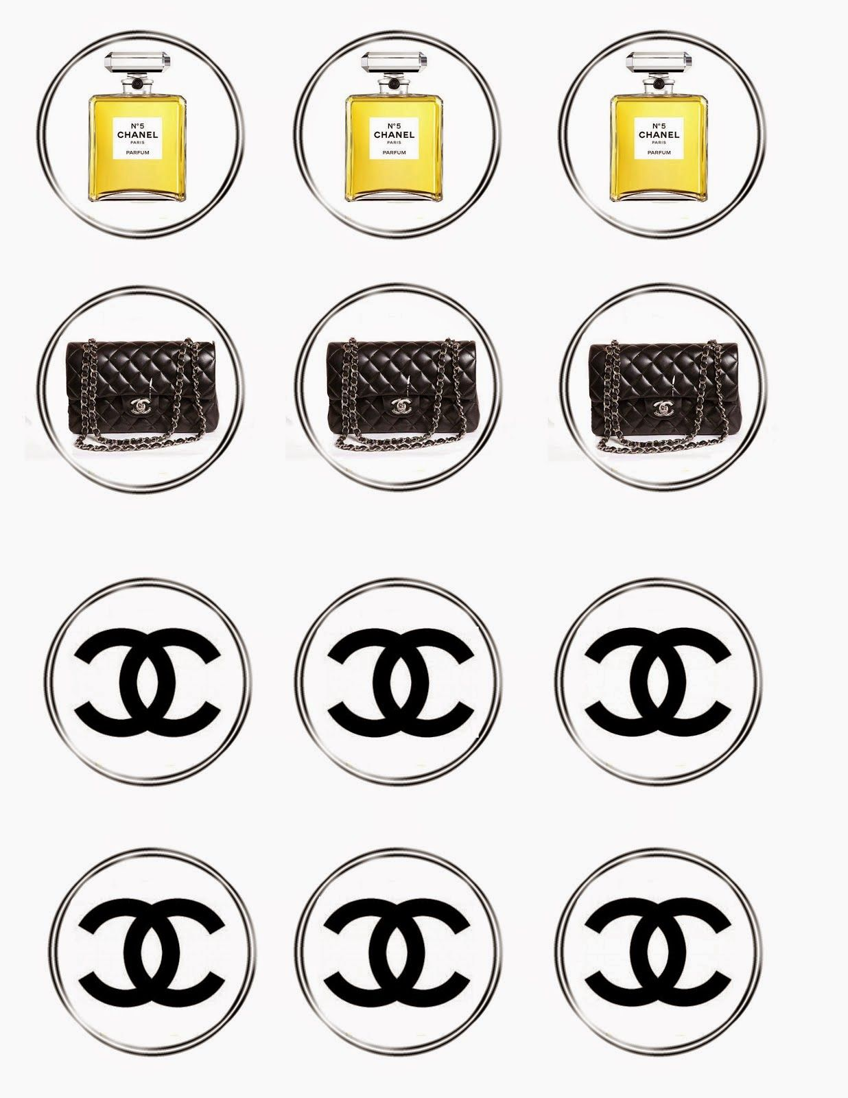 chanel free printable toppers labels stickers or bottle caps