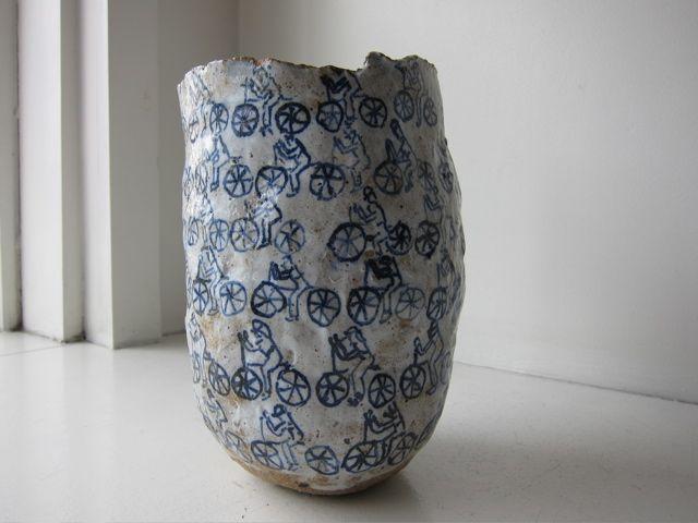 Magdalena Suarez Frimkess, Untitled Bicycle Pot, 2011, Ceramic, 8″ by 5″ by 5″ @southwillard