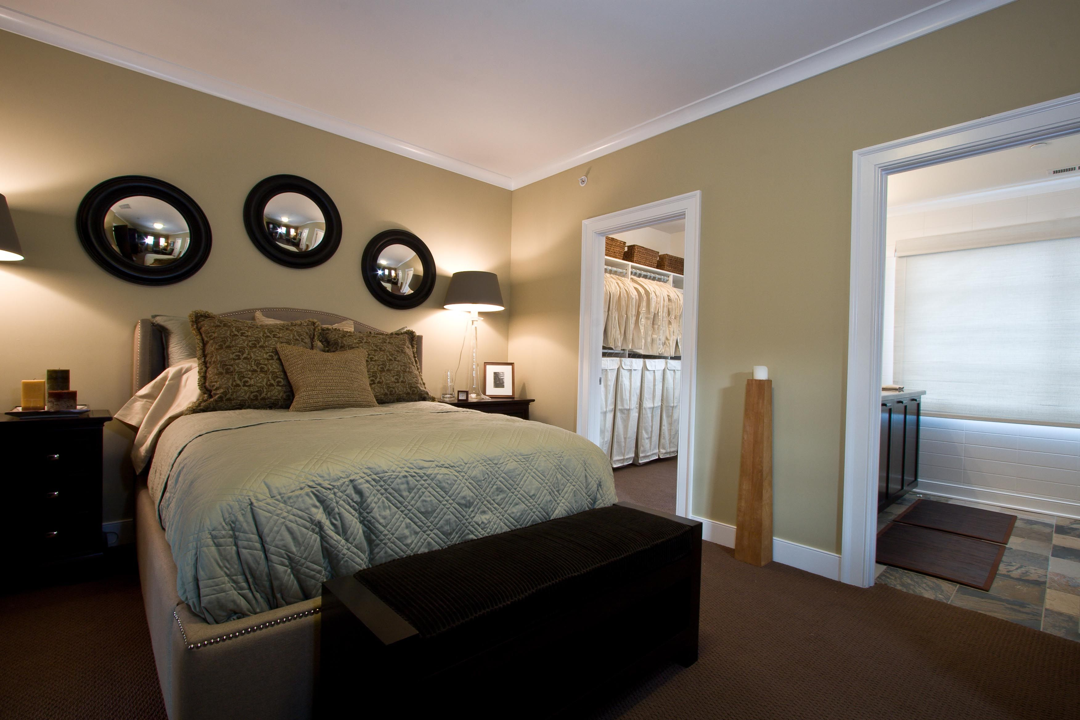 The master bedroom at the model of Neighborhood Launch