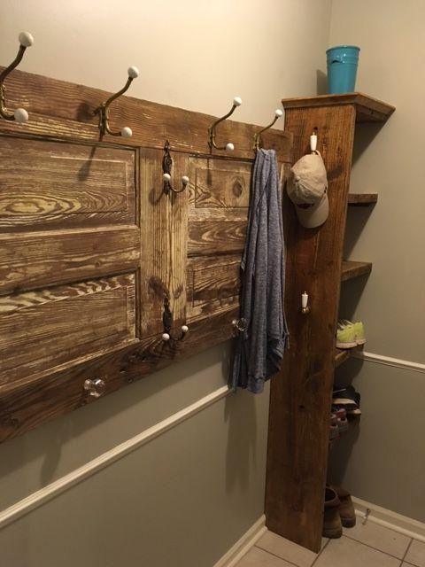 Coat Rack Made From Old Barn Door With, Old Wooden Door Coat Rack