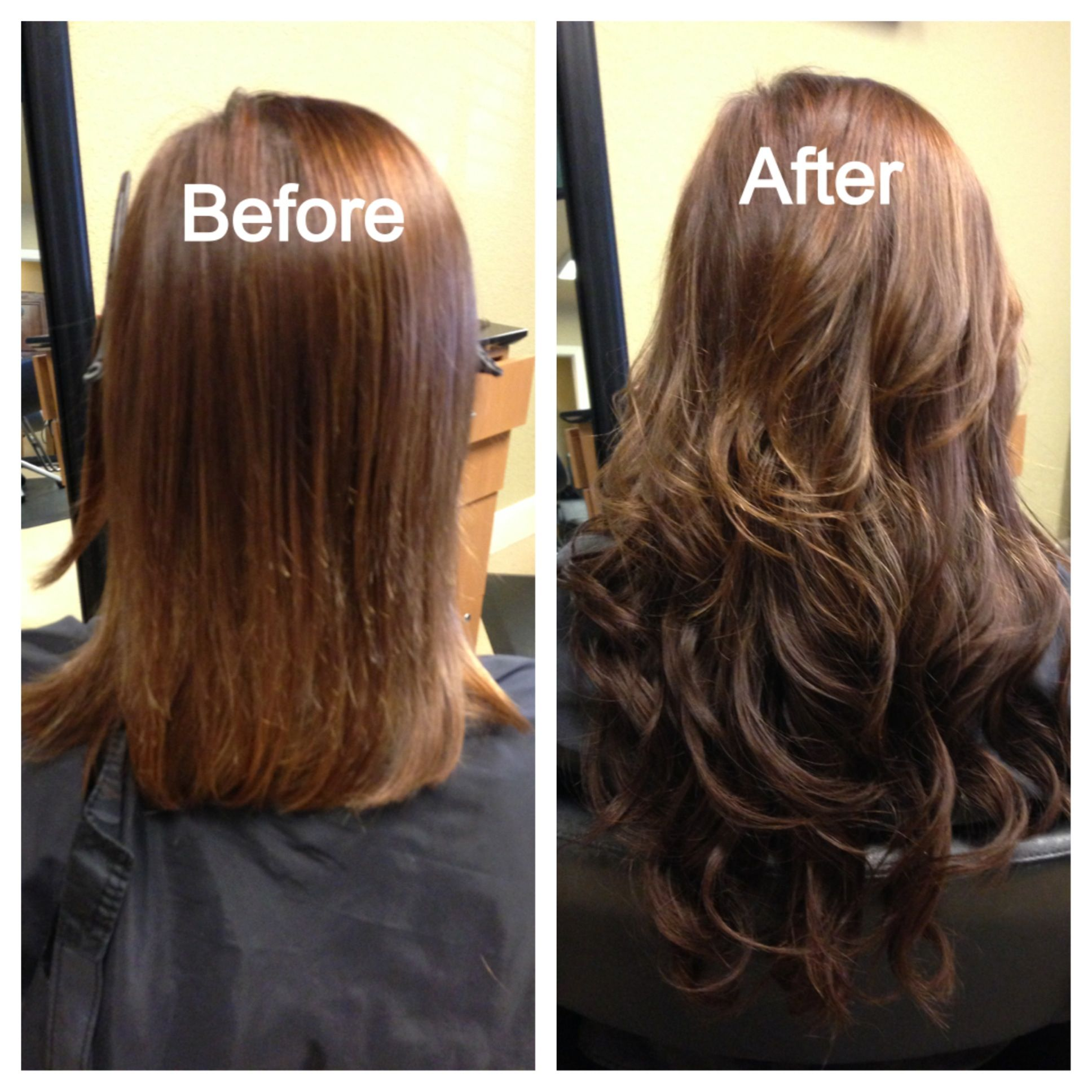 socap fusion hair extension before/after. 100% human remy