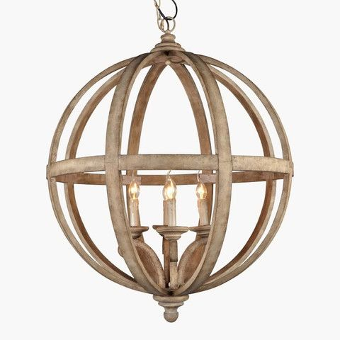 Large Round Wooden Orb 4 Light Chandelier