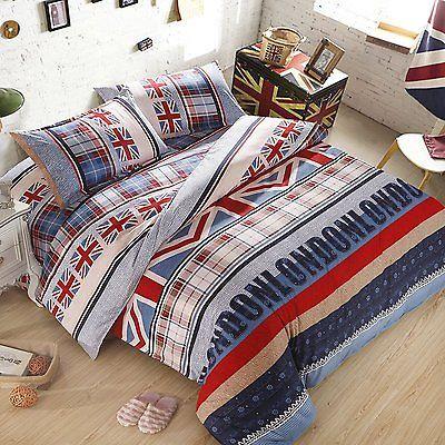 London Union Jack Duvet Cover Pillow Cases Quilt King Size Bedding