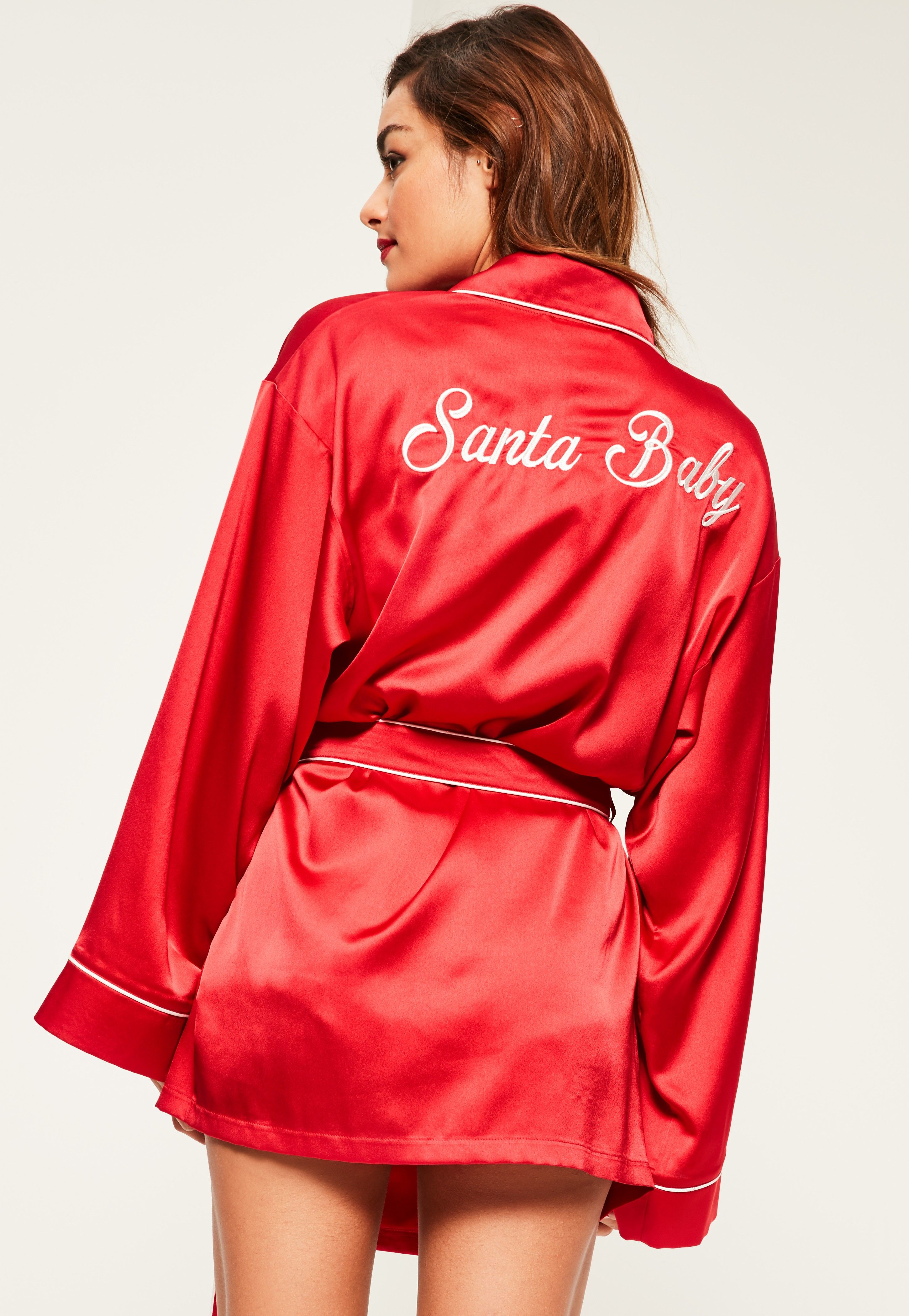 Missguided - Red Santa Baby Kimono Satin Robe  761941adb