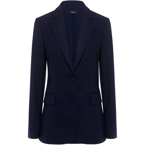 Theory - Italian Wool New Classic Blazer (28.480 RUB) ❤ liked on Polyvore featuring outerwear, jackets, blazers, blazer jacket, blue wool blazer, blue blazer jacket, theory jacket and wool jacket