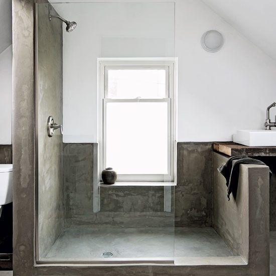 concrete shower.....room.