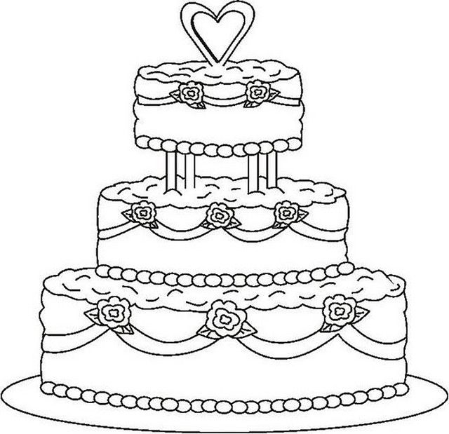 Fancy wedding cake coloring page | Coloring Books & Pages ...