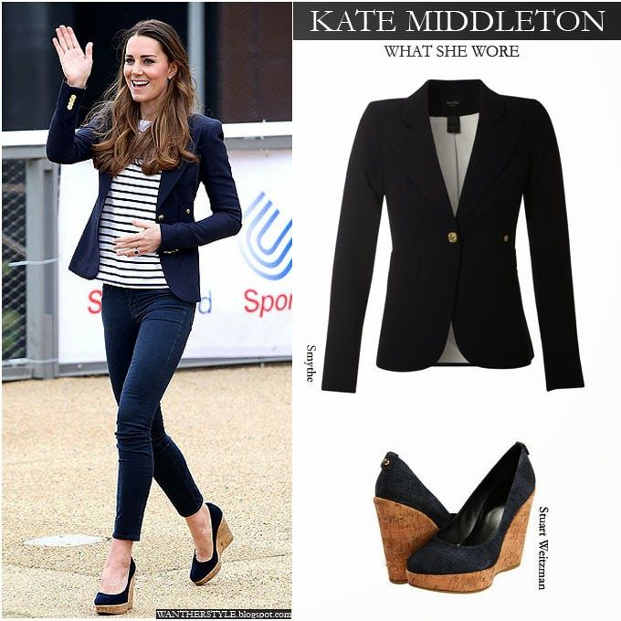 cd22901eede WHAT SHE WORE  Kate Middleton in blue one button blazer