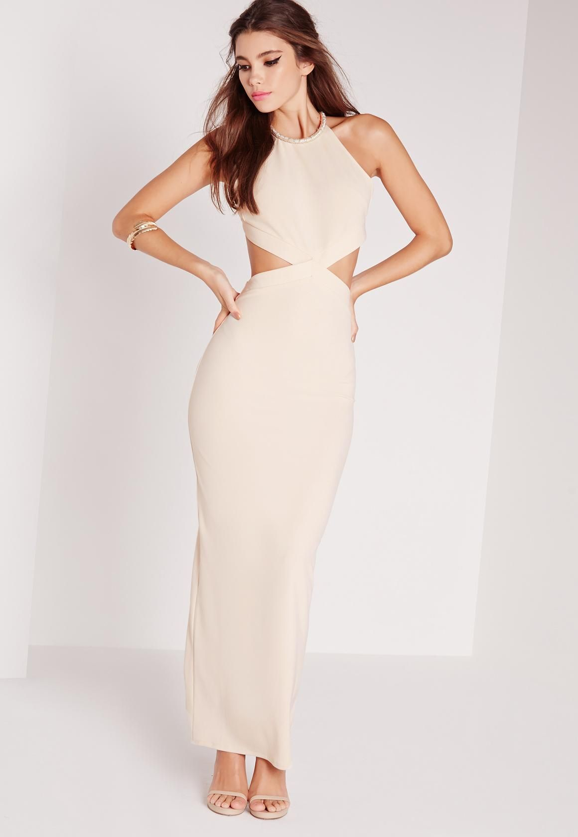 Missguided - Embellished Neck Cut Out Maxi Dress Nude | formal ...