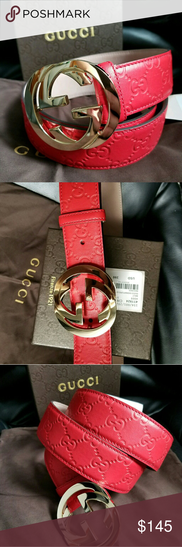d8af15f5c3f ❤Authentic Red Guccissima Belt with Gold Buckle Brand New Gucci Belt Red  Guccissima with Gold Buckle. HOT! Comes with tags