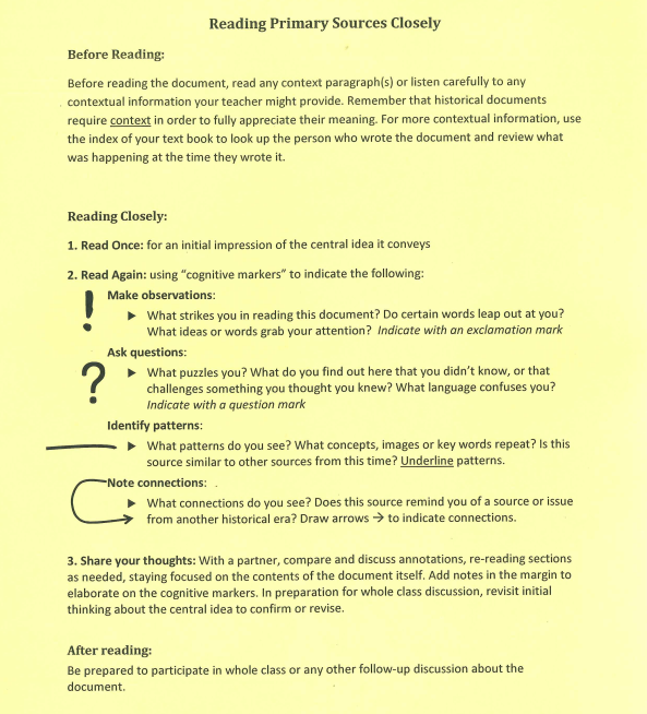 The History Projects Reading Primary Sources Closely worksheet – Primary Source Worksheet
