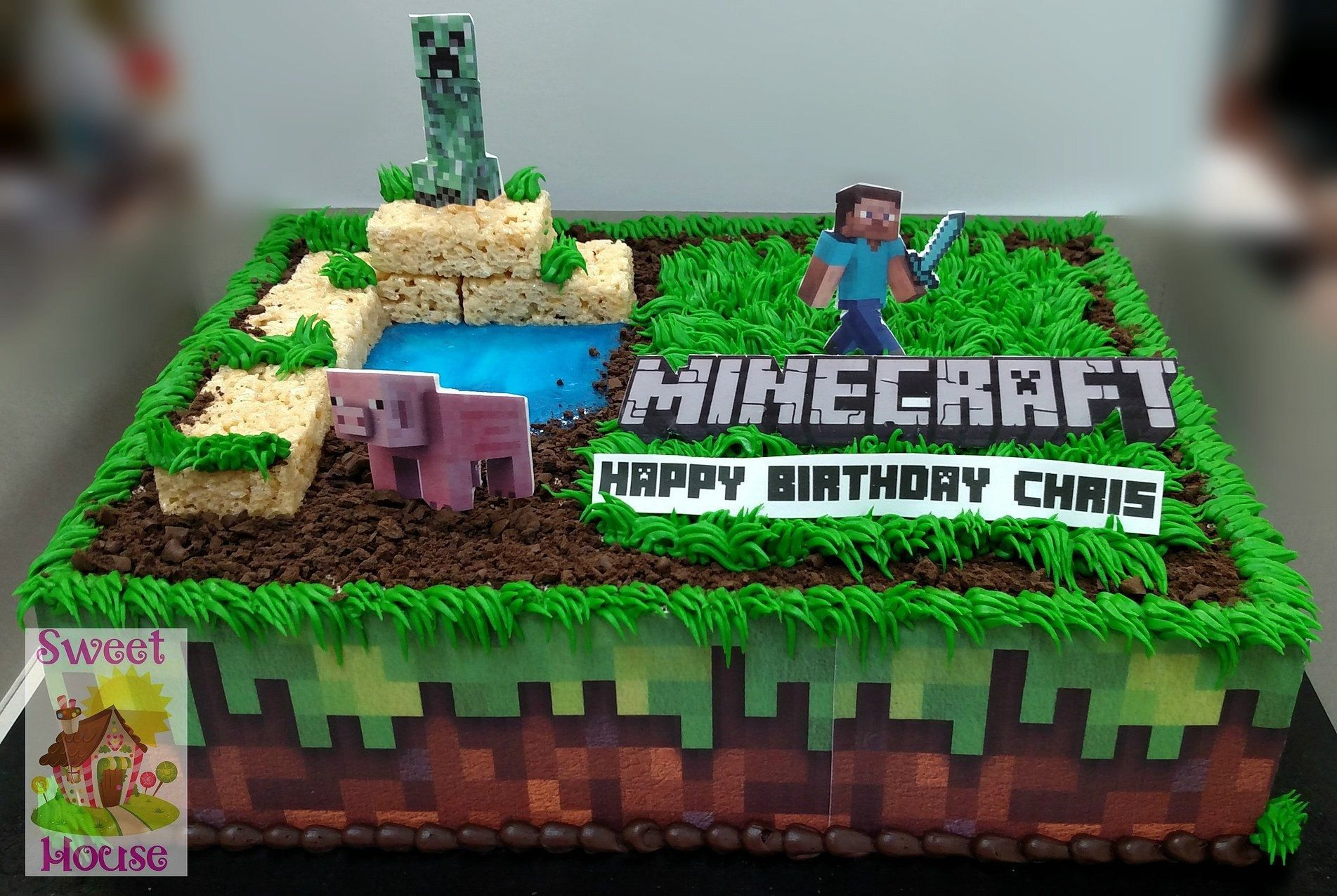 Pleasing 32 Exclusive Photo Of Minecraft Birthday Cakes Minecraft Personalised Birthday Cards Sponlily Jamesorg