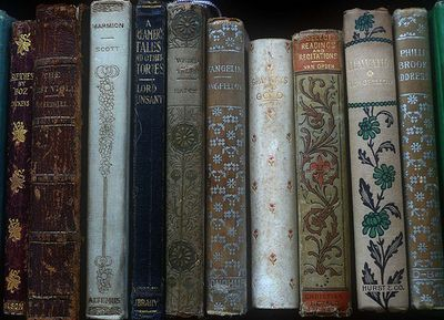 old books with decorative spines...