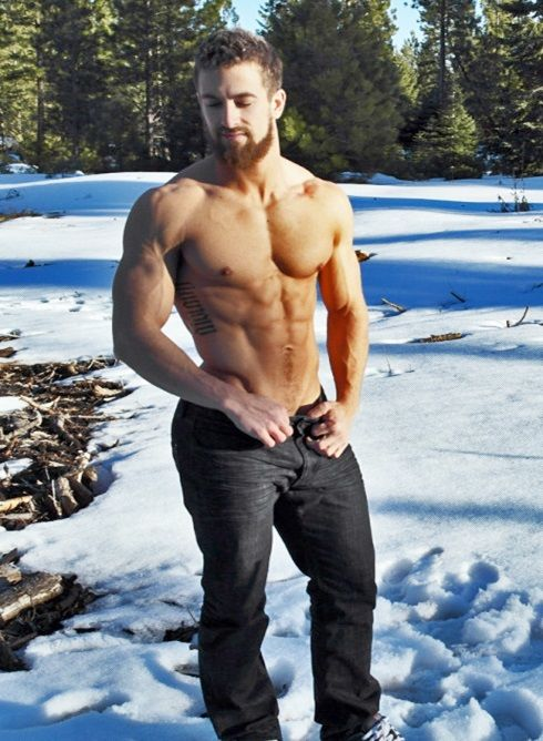 Handsome Shirtless Man Out in the Country Snow Sexy Men