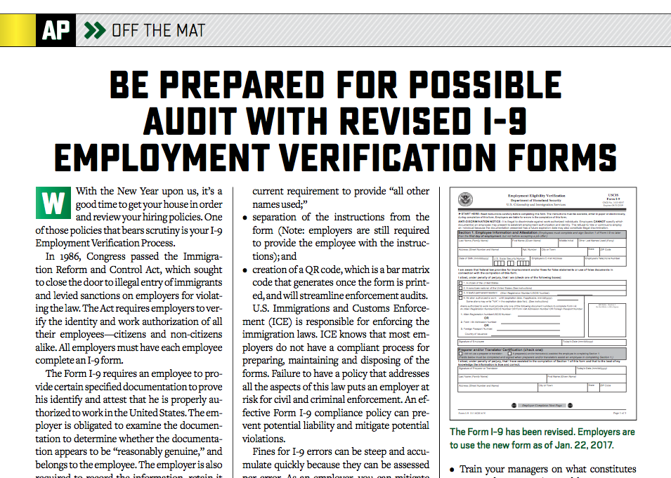 Be Prepared For Possible Audit With Revised I Employment