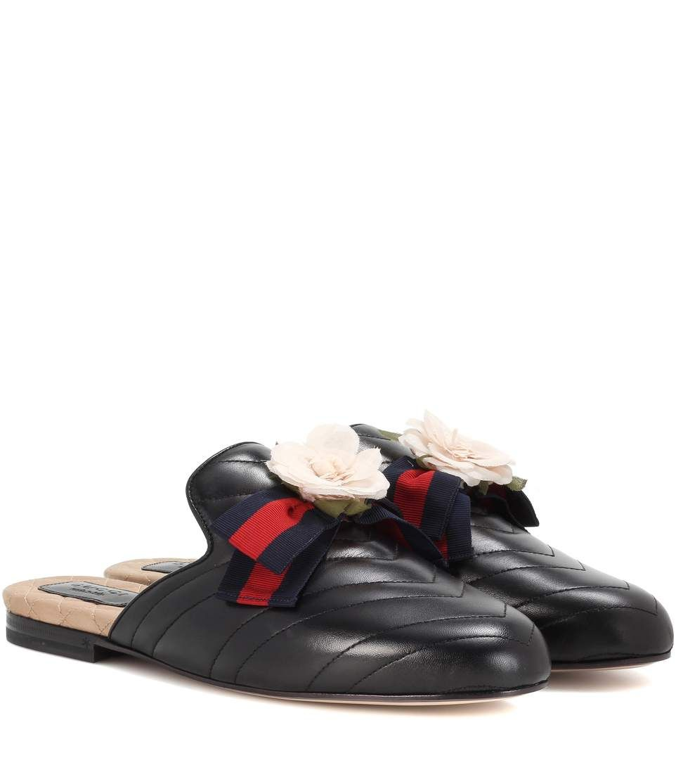 6f277a22662 GUCCI - Princetown embellished leather slippers - Gucci's iconic ...