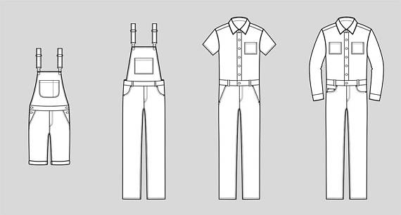 Jean Overalls Vector Fashion Flat Sketch Adobe Illustrator Etsy Flat Sketches Flat Drawings Illustration Fashion Design