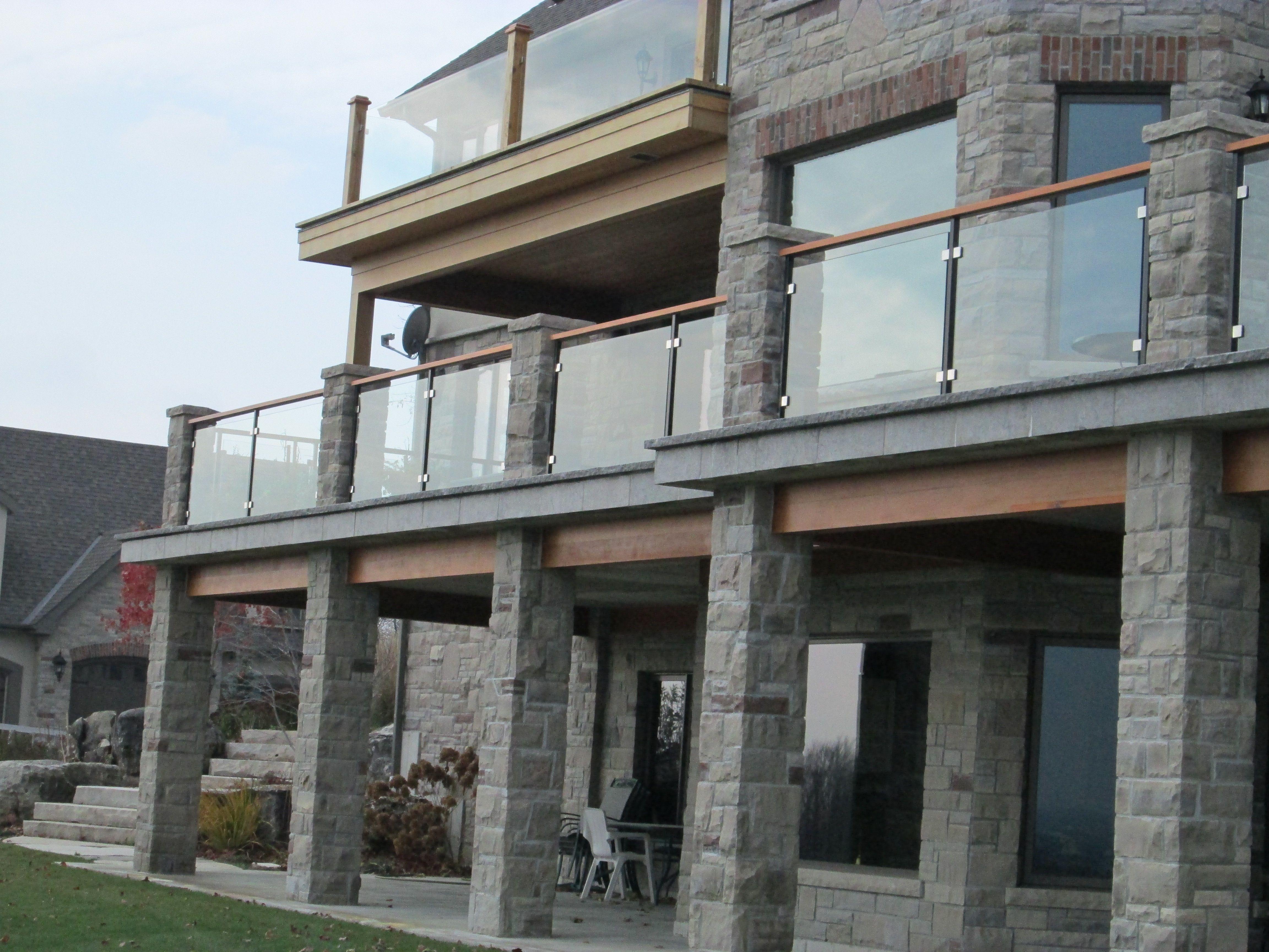Exterior glass railing off deck backyard pinterest for Exterior glass railing