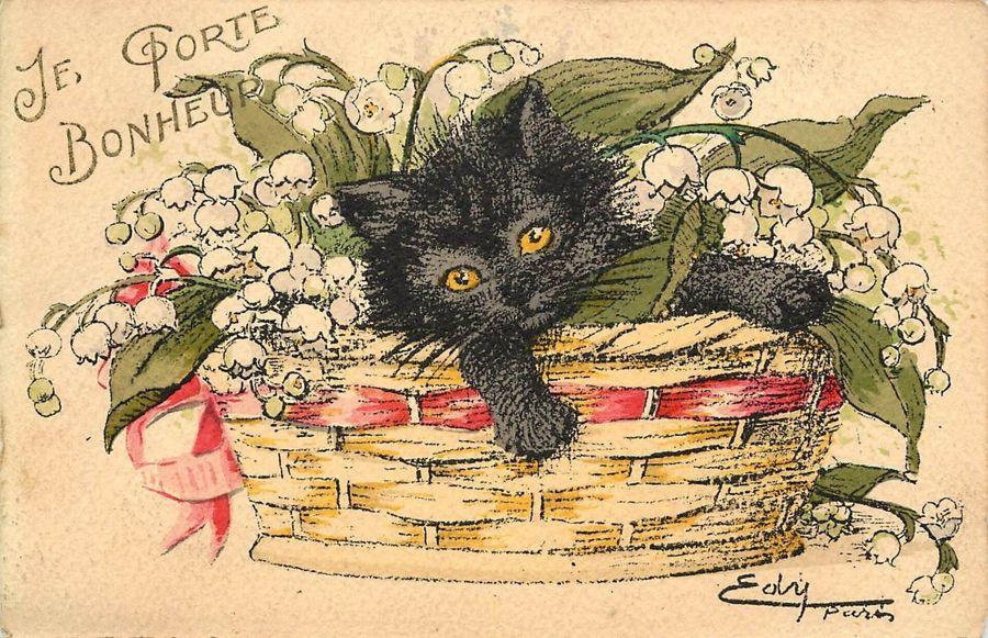 """Je Porte Bonheur [I Bring Happiness]"" - vintage black kitten French postcard; by Edouard Masson"