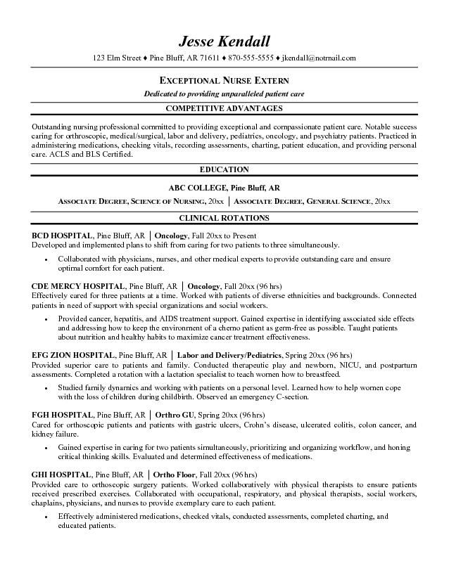 Nursing Student Resume Examples Helping Nursing Students - examples of internship resumes
