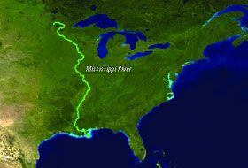 Map of the Mississippi River Points of intrest Pinterest