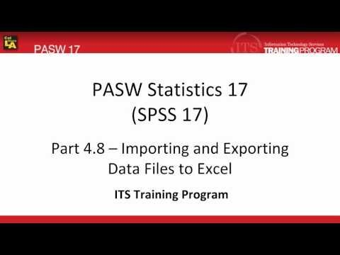 4 8 Import Export Data to or from Excel: PASW (SPSS