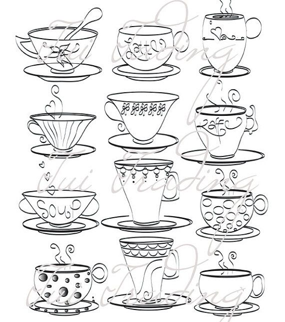 Polka Dot Teacup Tea Cup Outlines Digital Drawings by TuiTrading - outline for a resume