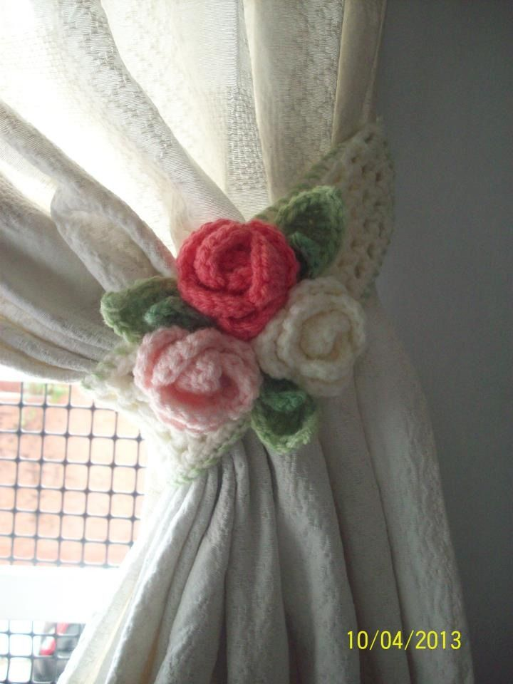Agarraderas de cortinas deco hogar tejidos pinterest - Abrazaderas para cortinas ...