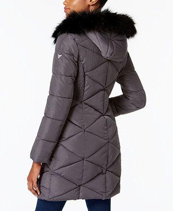 GUESS Faux-Fur-Trim Puffer Coat  f7b077e0f8e6