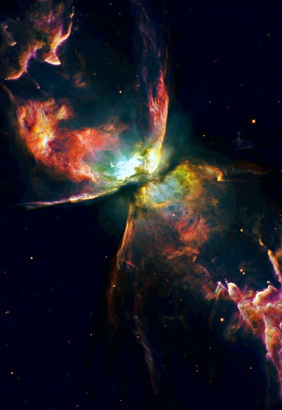 The Butterfly nebula,  NGC 6302, lies about 4,000 light-years away in the constellation Scorpius.:
