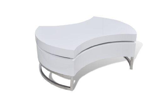 Couchtisch Kaffeetisch Beistelltisch Tisch Formverstellbar Design Hochglanz Weiss VidaXL Amazon