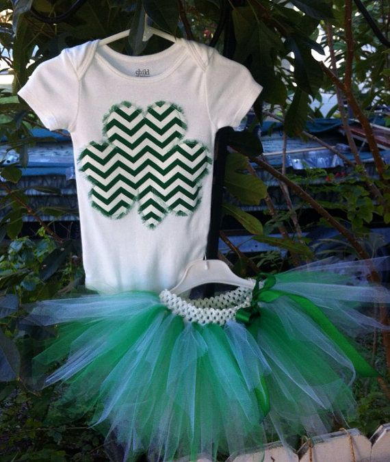 Chevron green/ white, clover/shamrock and tutu set-outfit - infant baby toddler girl - St Patricks Day t  on Etsy, $23.00