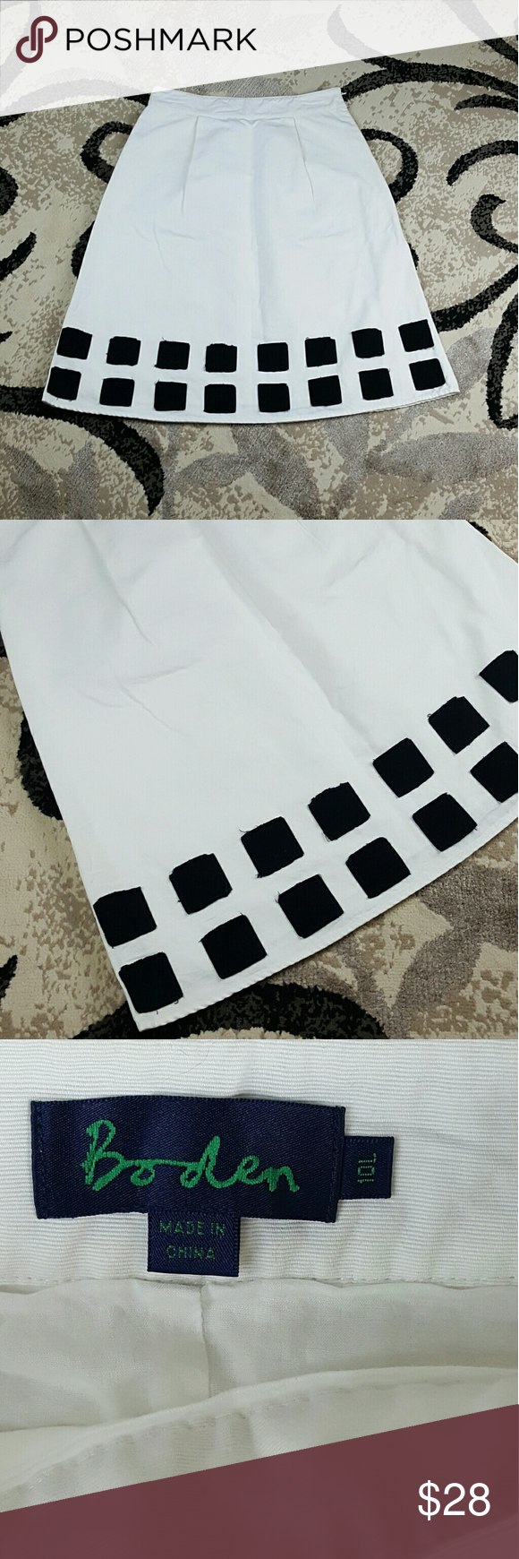 Boden White Below Knee Square Patch Skirt Boden White Below Knee Square Patch Skirt  Size - 10L  Super cute  Perfect for the summer  Great Pre-Loved condition  No rips or stains  Zipper side Boden Skirts Midi