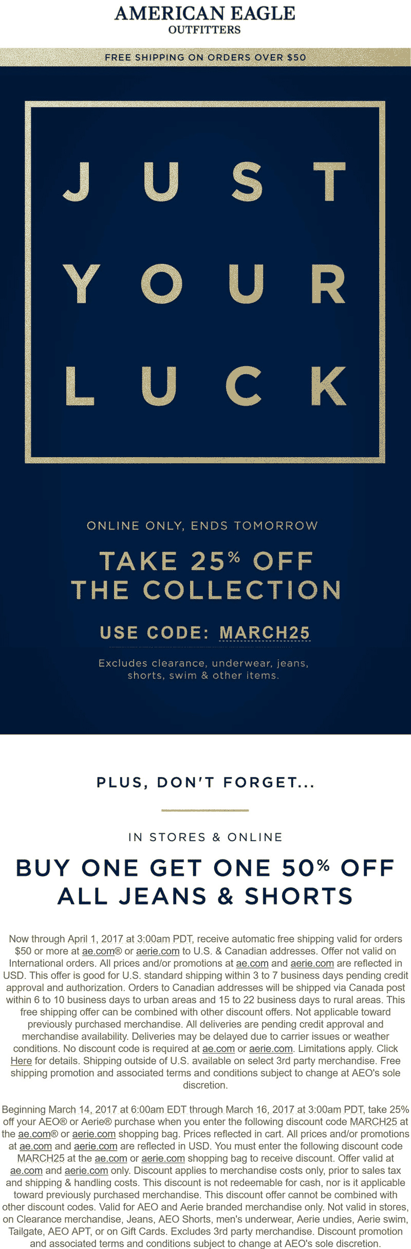 Pinned March 15th: 25% off online at American Eagle