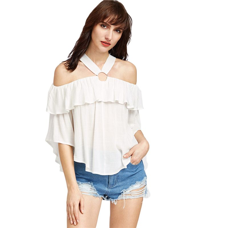 3848b47fca0 SheIn Women Blouses Cold Shoulder Tops Three Quarter Length Sleeve White O  Ring Cold Shoulder Ruffle Sexy Blouse