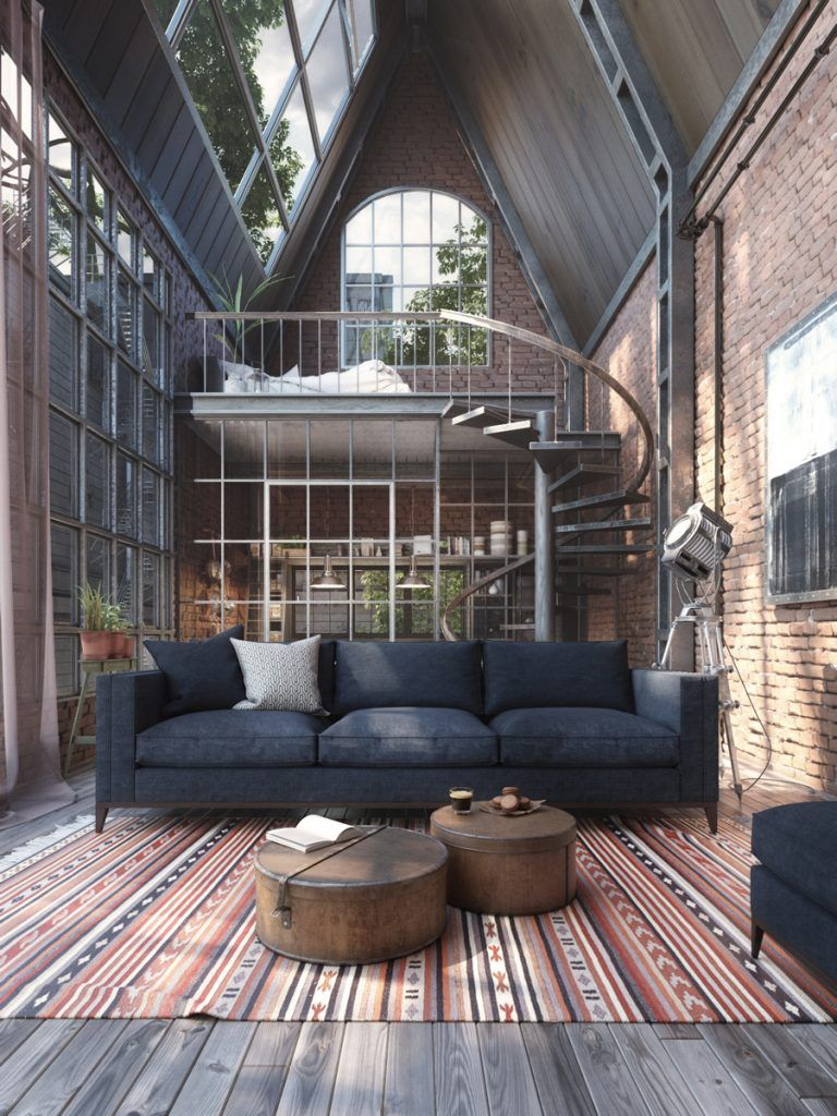 Loft Studio with Spiral Staircase