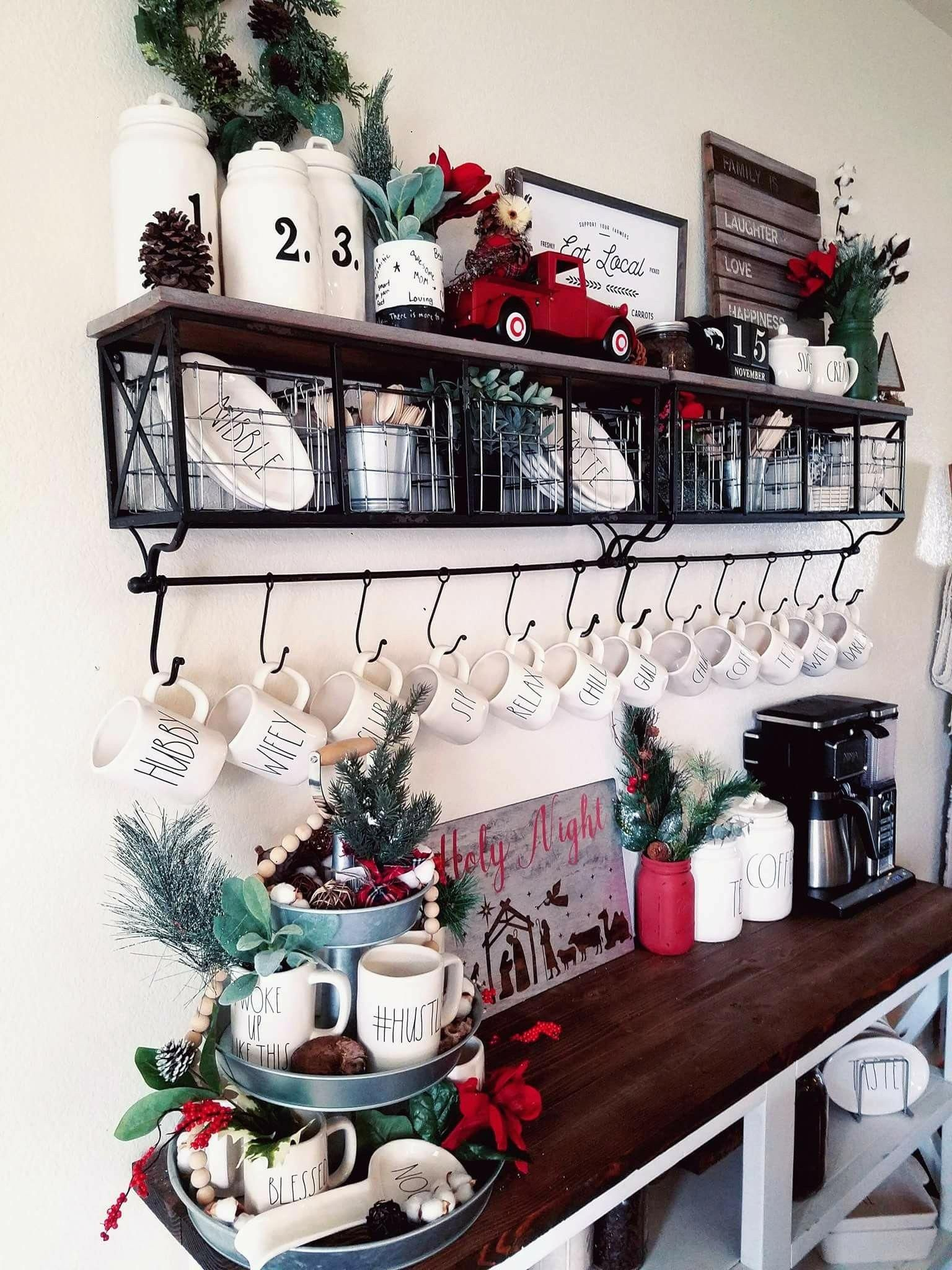 Rae Dunn with shelf from hobby lobby! hobbylobbychristmas
