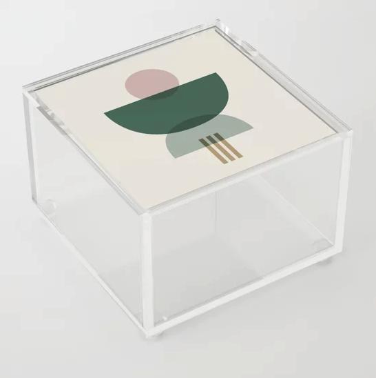 """Emerald Abstract Half Moon 3"" Acrylic Box by Selwyn & Park Design Co. on… | Society6 thumbnail"