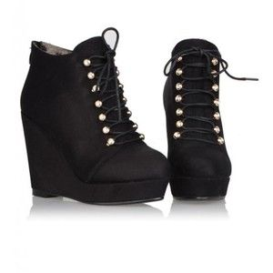 Black Suede Wedge Heel Ankle Boots Shoes$65 | fall outfits ...