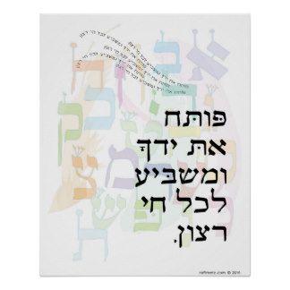 Poteach et Yadecha with Alef Beis Psalm 145:15 Poster