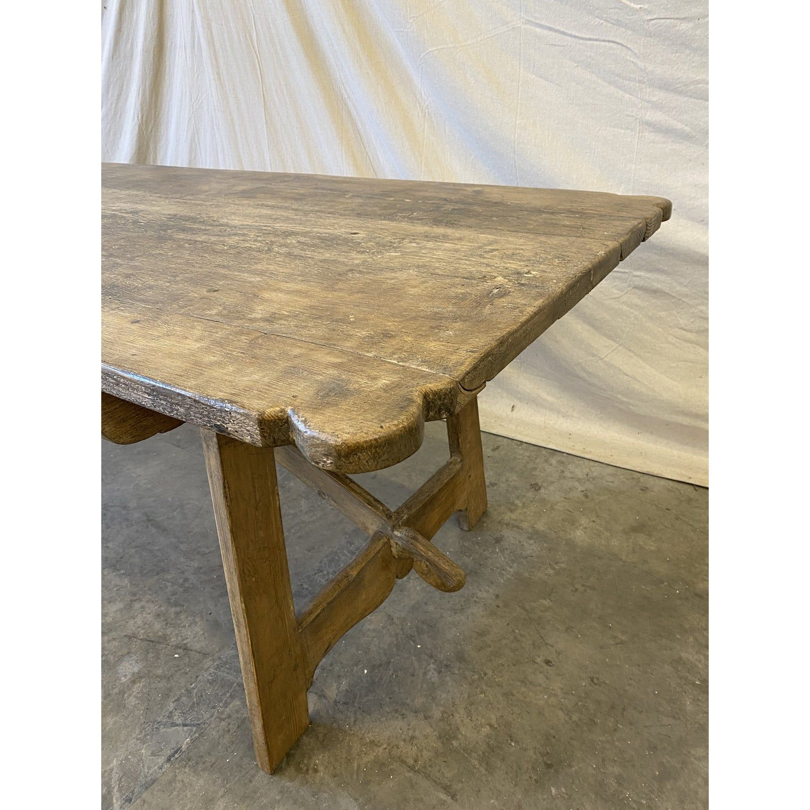 French Antique Rustic Oak Trestle Dining Table In 2020 Dining